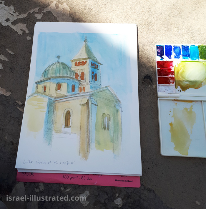 Plein-air drawing, Church of the Redeemer, gouache on paper.