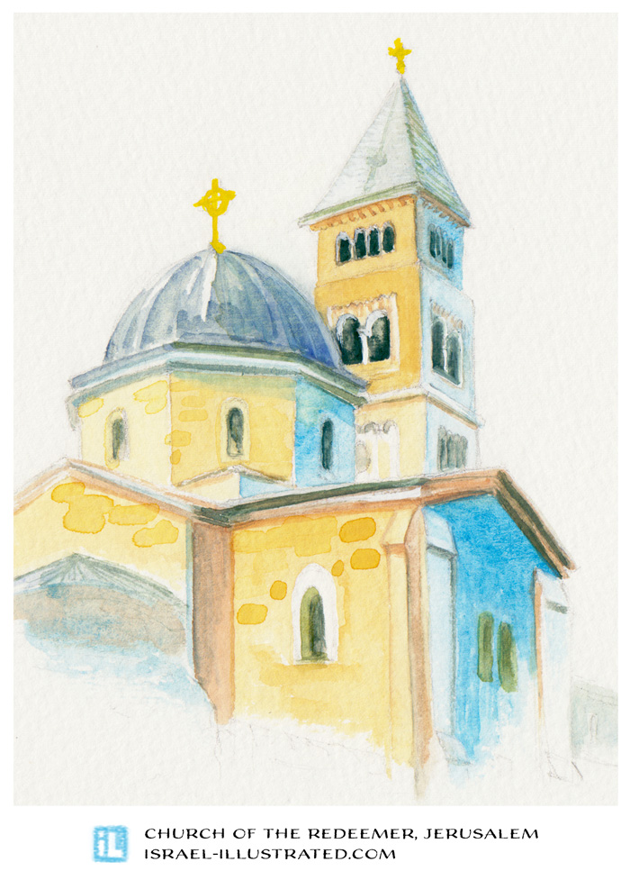 Hand-drawn postcard from Jerusalem: Lutheran Church of the Redeemer, as seen from the rooftop of the Cardo. Gouache on paper.