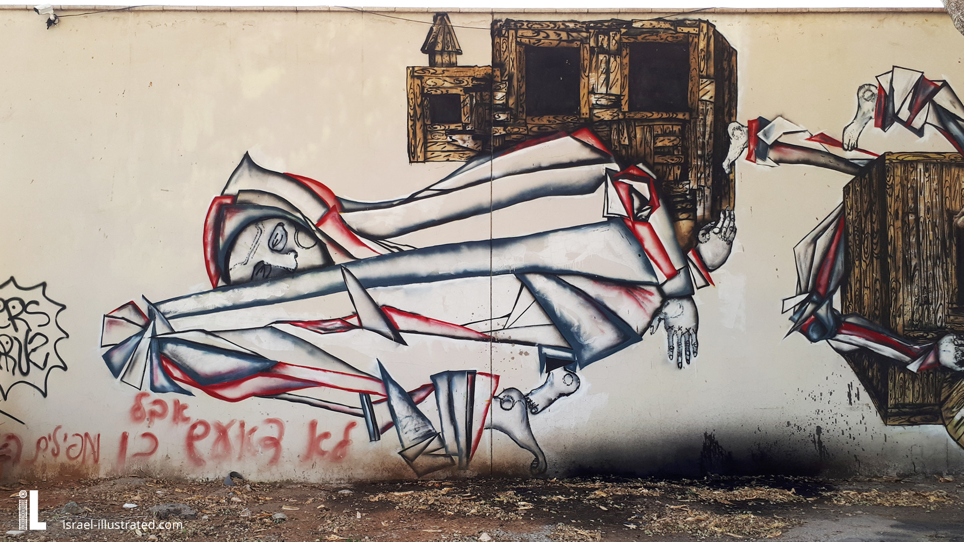 Dede, a large wall covered in a three part drawing -2