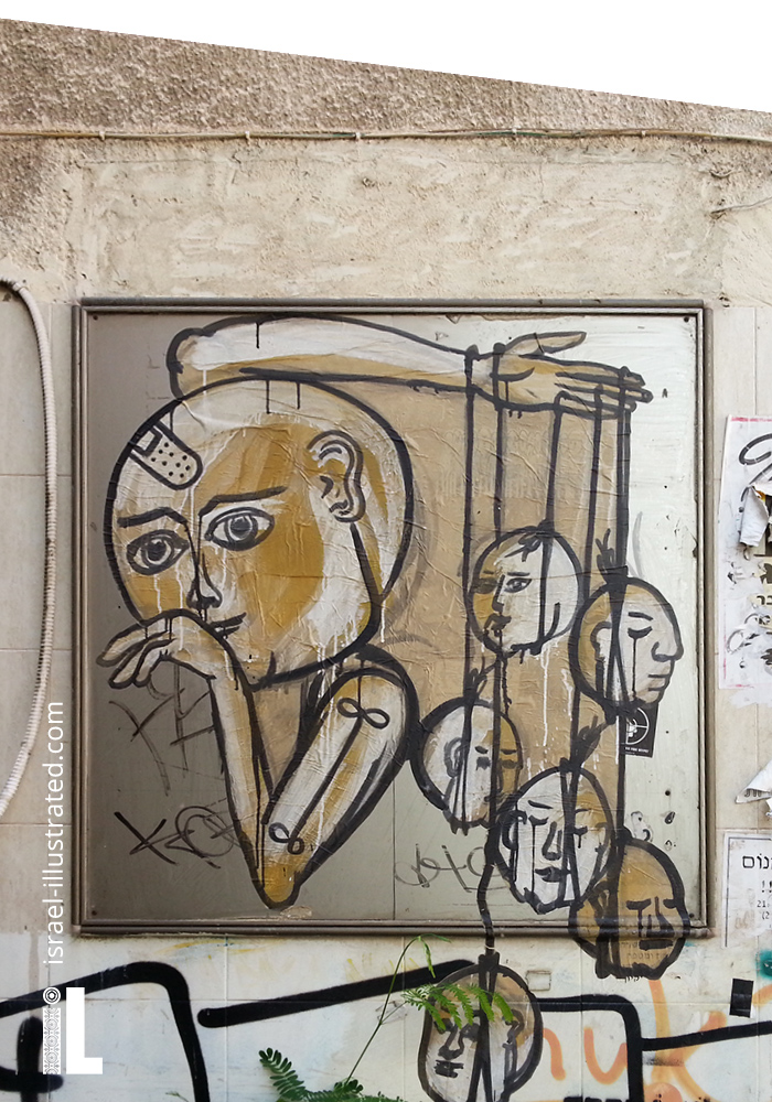 Moon faces by Dede, Tel Aviv Street art