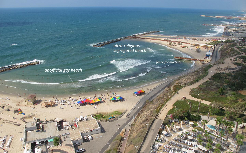 The gay beach in tel aviv and the ultra-religious beach share the same lagoon!