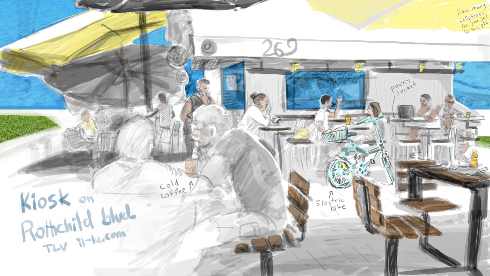 cafe kiosk in Tel aviv