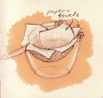 line the colander with strong paper towels
