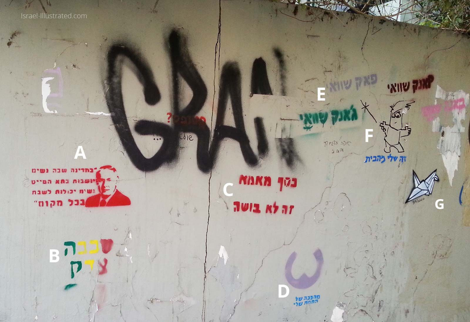 Hebrew Text graffiti wall in Tel Aviv. A lot of social criticism on one wall!