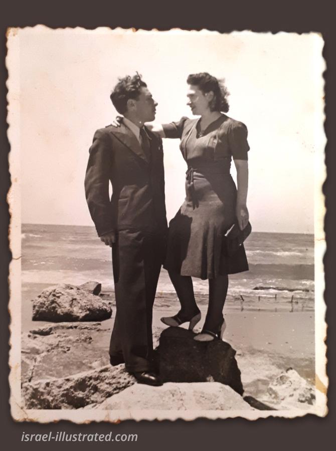 My Grandparents at the Tel Aviv Beach, <br>around the 1950's