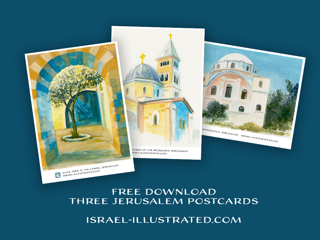 Free download of hand-drawn Jerusalem Postcards
