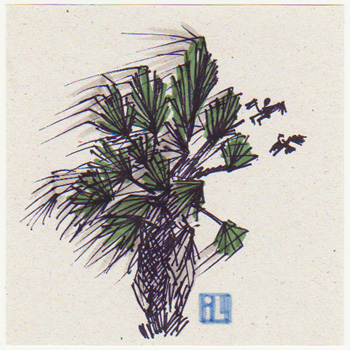 Palm tree in the storm, Israel weather, Illustration by Netta Canfi